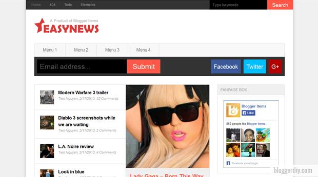 Easy News Blogger template