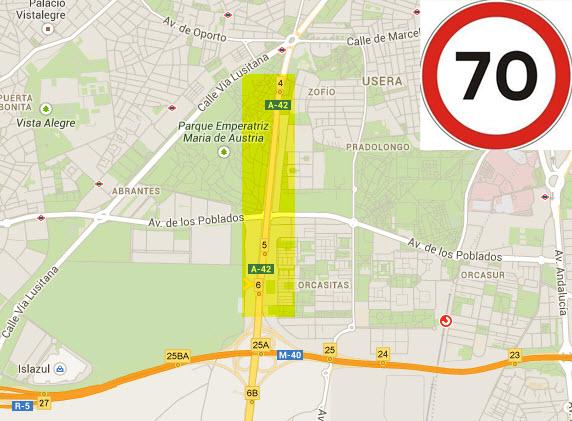 Se reduce la velocidad máxima en la A-42 a 70 km/hora entre la M-40 y plaza Elíptica
