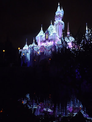 Disneyland Christmas holiday decorations castle