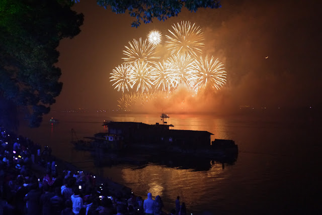 fireworks over the Xiang River in Changsha, Hunan province, China