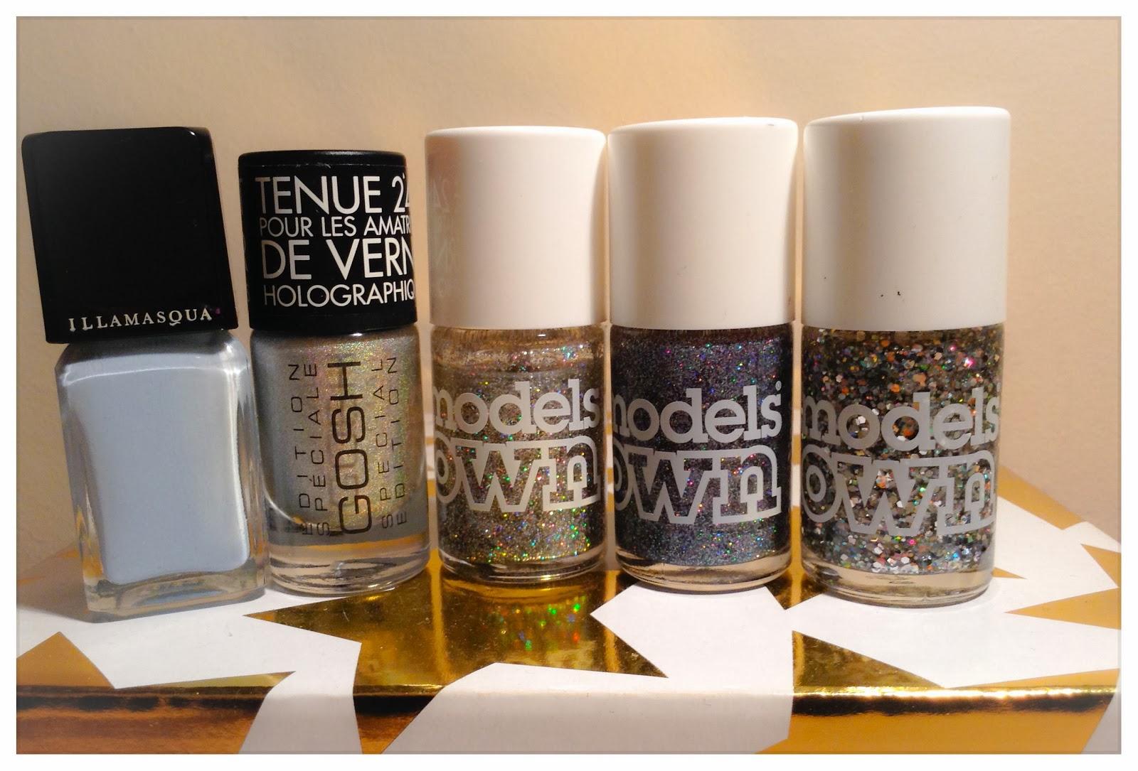 Nail-Art-glitter-manicure, models-own-illamasqua-GOSH