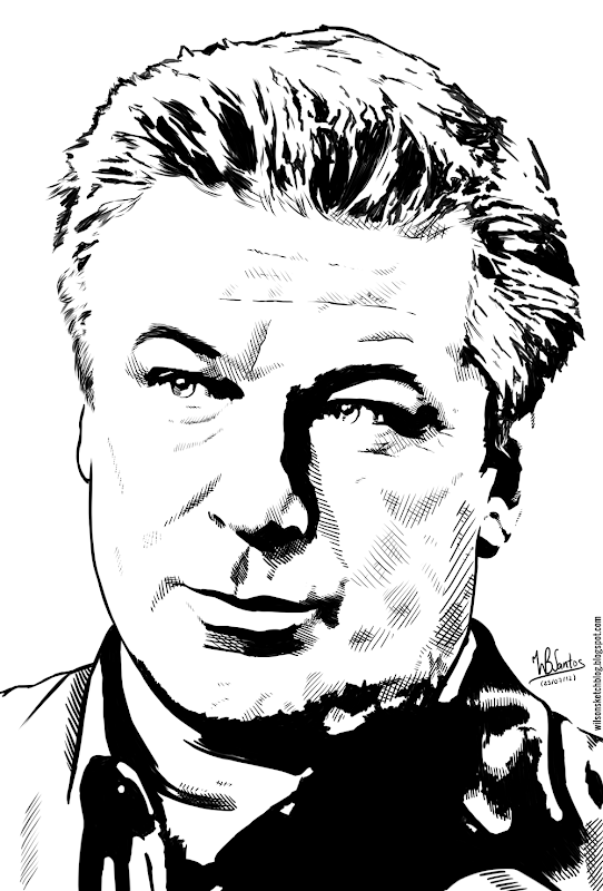 Ink drawing of Alec Baldwin, using Krita 2.4.
