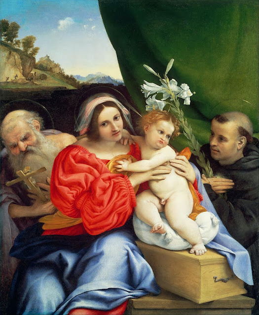 Lorenzo Lotto - Virgin and Child with Saints Jerome and Nicholas of Tolentino - Google Art Project