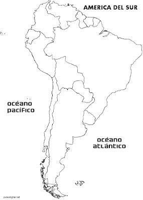 Mapa de América del Sur con división política sin nombres de los países