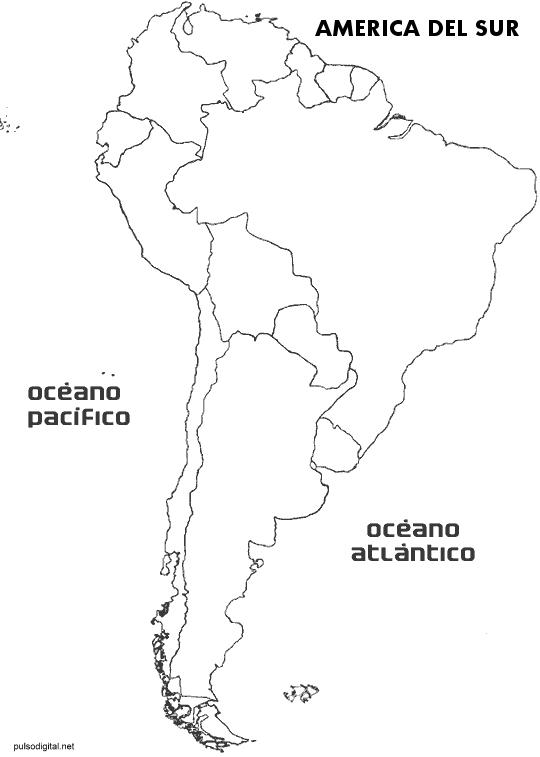 Mapa de Amrica del Sur con divisin poltica sin nombres de los