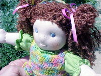 "Cordelia - 10 1/2"" Doll in a Hand-crocheted Spring Outfit"