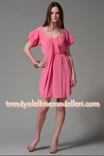 trendyol machka pembe ipek elbise modelleri