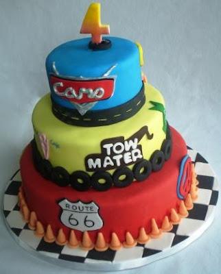 disney cars themed birthday cakes Cars2 Themed 3 Tier ...