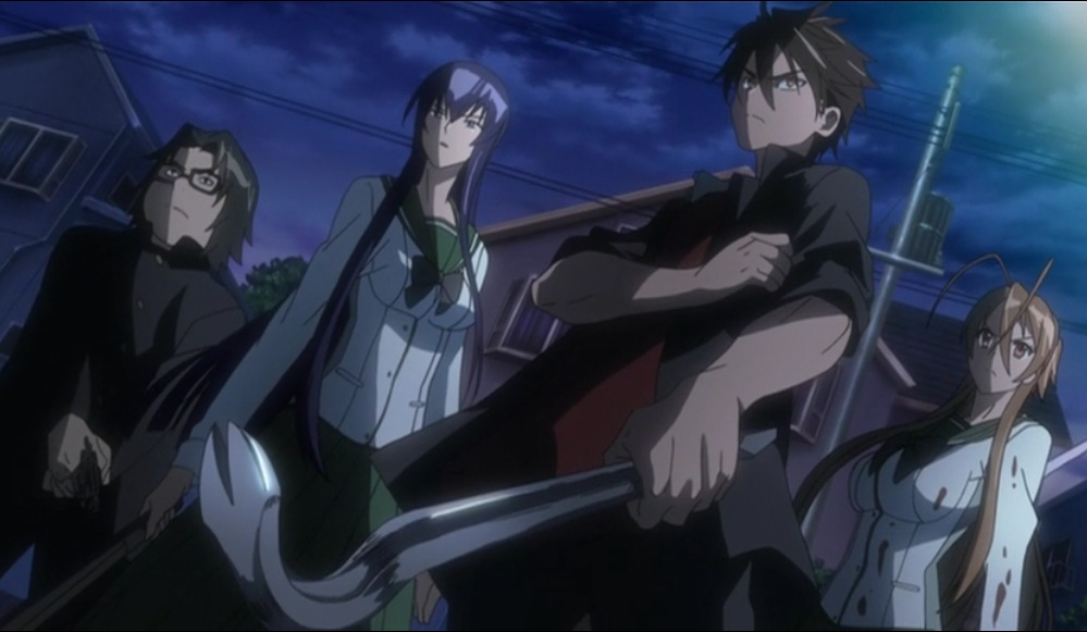 Takashi Komuro Leading The Gang In Highschool Of The Dead