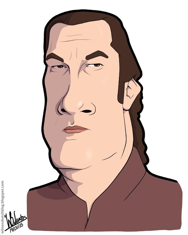 Cartoon caricature of Steven Seagal.
