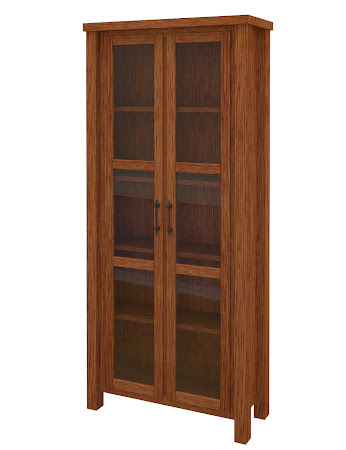 Ashton Glass Door Bookshelf In Washington Quarter Sawn Oak