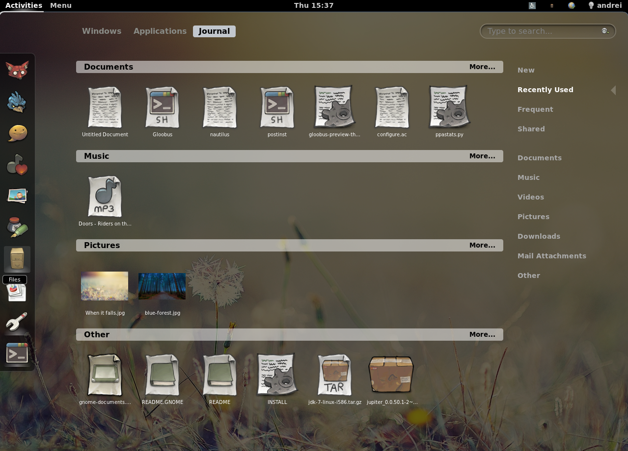GNOME Shell Zeitgeist Extension Updated With Integrated Shell