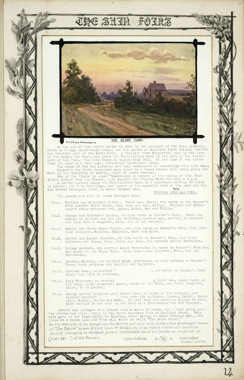A Record of Shelford Parva by Fanny Wale P14 fo. 15, page 14: (a continuation of page 12). A coloured watercolour of Glebe farm and information on who lived in the cottages between 1912-1914. Inset within a picture mount [Mount A] decorated with black and white watercolour of foliage surrounds the page. [fo.14]