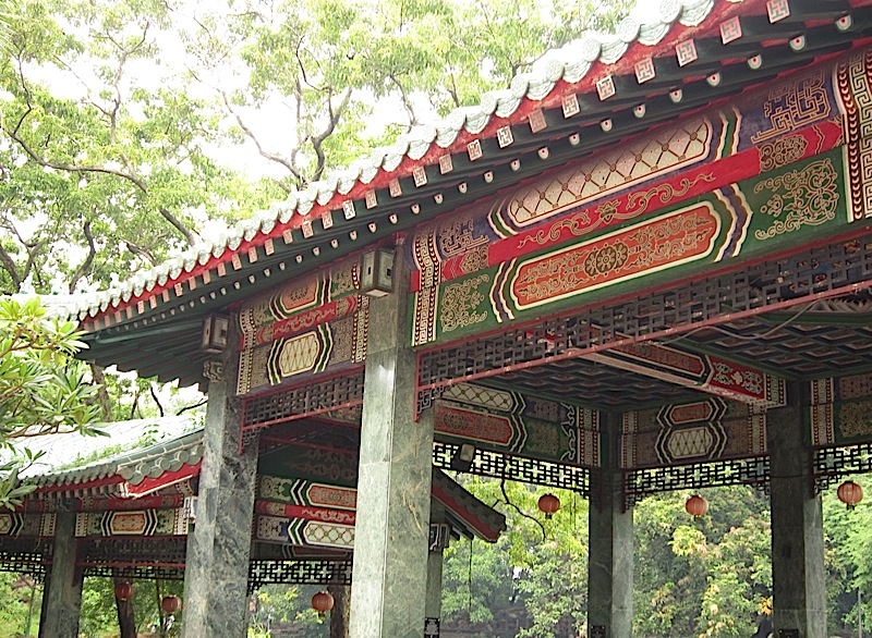 ornate design details of the Chinese pavilions at the Rizal Park