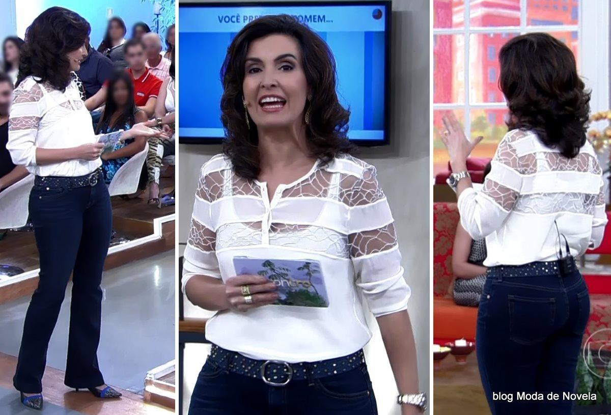 moda do programa Encontro - look da Fátima Bernardes dia 24 de julho