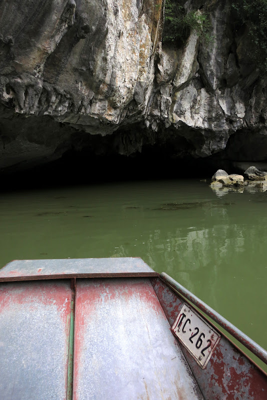 Boat approaching the first cave