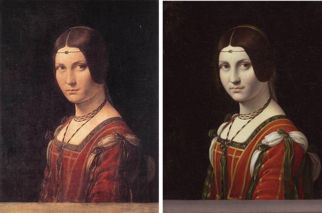 Imagen 1. La Belle Ferronniére atribuida a Leonardo da Vinci (1495-99, 63×45 cm) y la del matrimonio Hahn (antes de 1750, 55x44 cm).