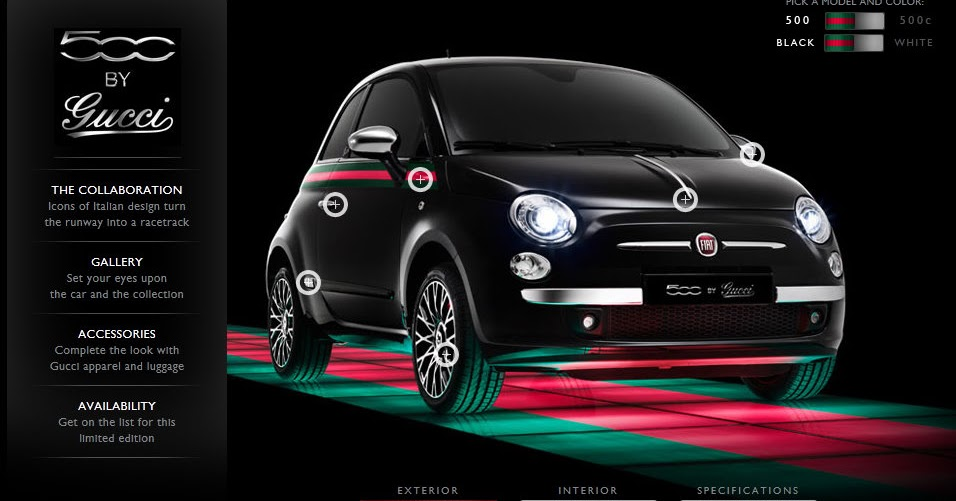 us fiat 500 by gucci unveiled in new york new website launched fiat 500 usa. Black Bedroom Furniture Sets. Home Design Ideas