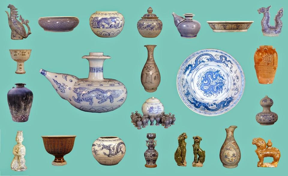 Một số hiện vật được khai quật tại di chỉ tàu đắm Cù Lao Chàm