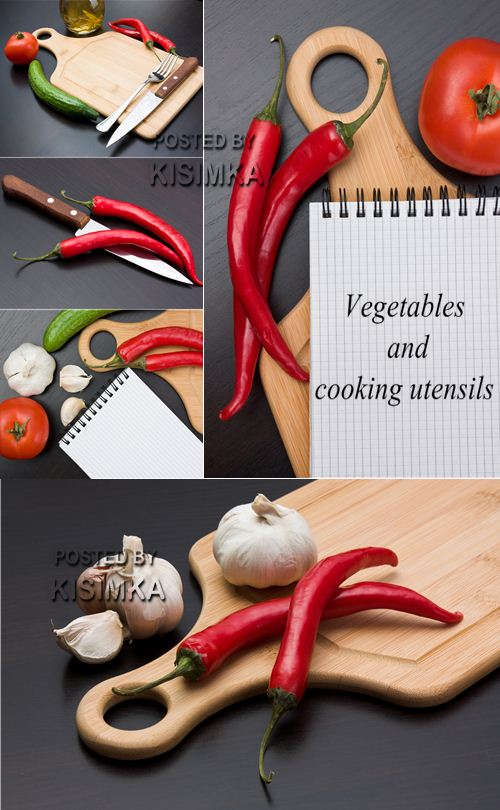 Stock Photo: Vegetables and cooking utensils