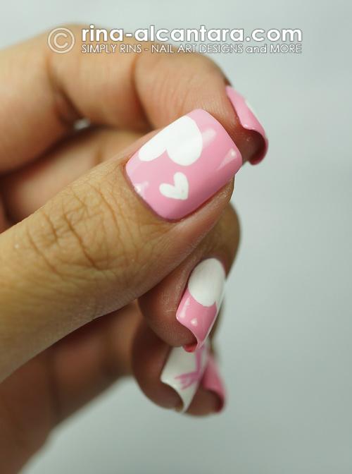Pink Ribbon and Hearts Nail Art Design