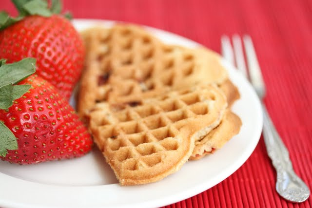 close-up photo of Strawberry Cake Waffles