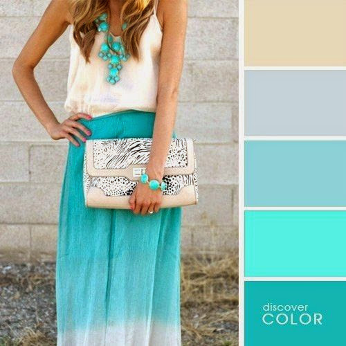 Бирюзовый цвет в одежде модные