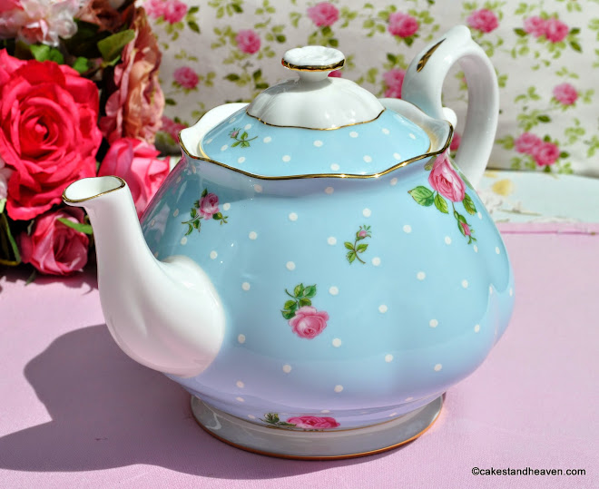 Pink Roses on Blue Polka Dot China 2 Pint Teapot