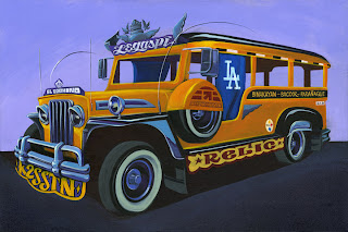 "Jeepney Acrylic on canvas 38.5"" x 26.5"" 2010 $3,000"