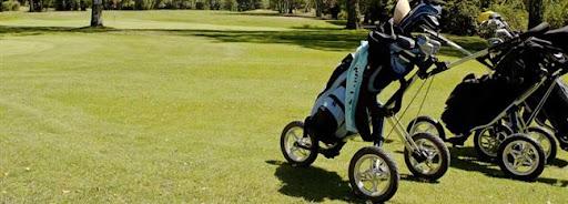 Bruselas Valonia: carritos con palos de golf en un campo de golf