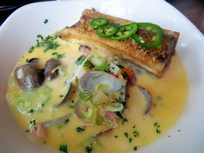 Ox's Fresh Clam Chowder, Smoked Marrow Bone, Spring Onion, Jalapeño . . . SO GOOD