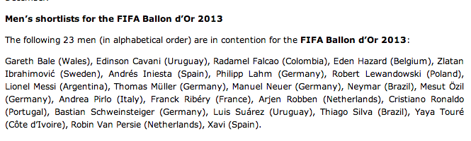 Ballon dOr 23 man shortlist announced: Who do you think has been the best player of 2013? [Poll]