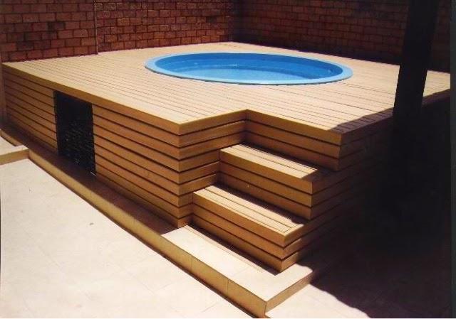 Alba piscinas com piscinas elevadas y recubrimiento en deck for Medidas de piscinas pequenas