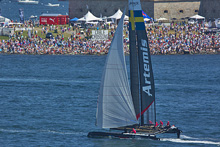 J/24 world champion Terry Hutchinson sailing Americas Cup cat
