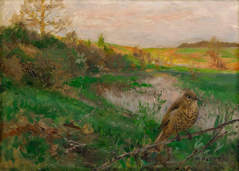 Bruno Liljefors - Landscape and song thrush 1891