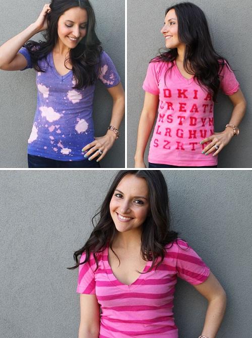 como customizar camiseta com água sanitária