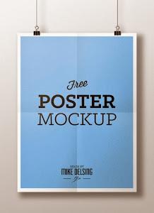 Download Hanging Paper Poster Mockup PSD