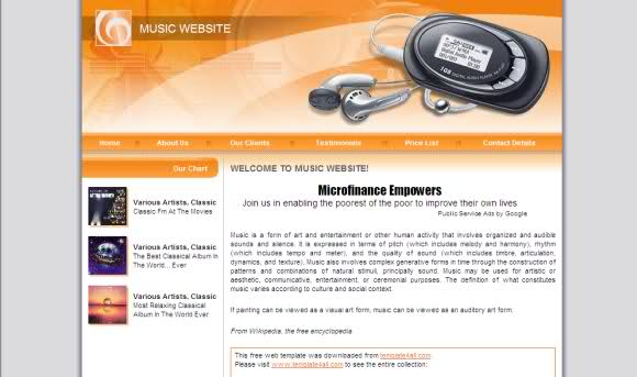 Free Web Music Business Website Template