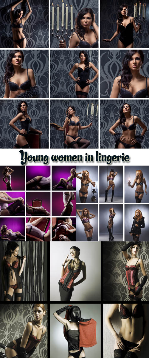 Stock Photo: A collage of images with young women in lingerie