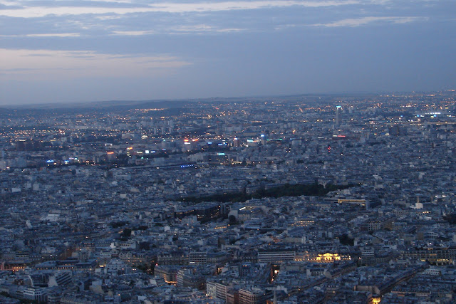 Views of Paris from the Eiffel Tower at Night
