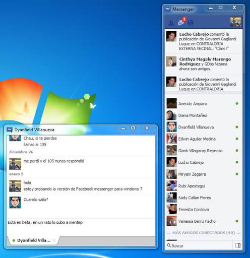 Facebook messenger para Windows 7