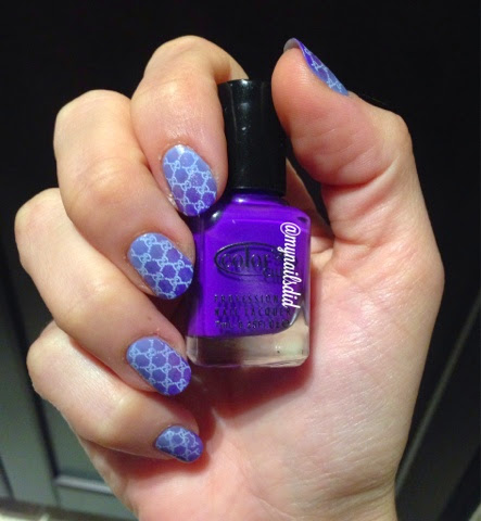 purple ombre chain link lace stamped manicure