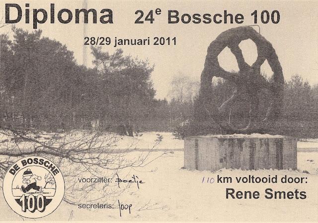 """100/110Km """"De Bossche Hondert"""": 27-28/01/2012  Diploma"""