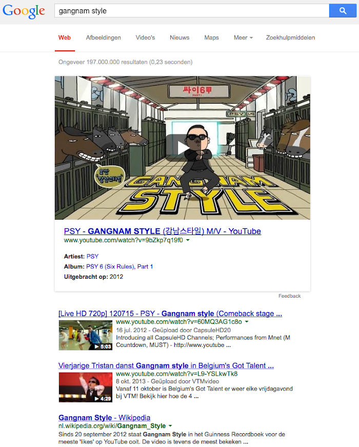 Gangnam Style large video in YouTube