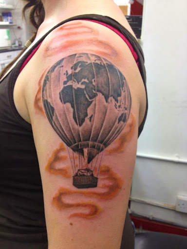 parachute air balloon Cloud tattoo on shoulder women