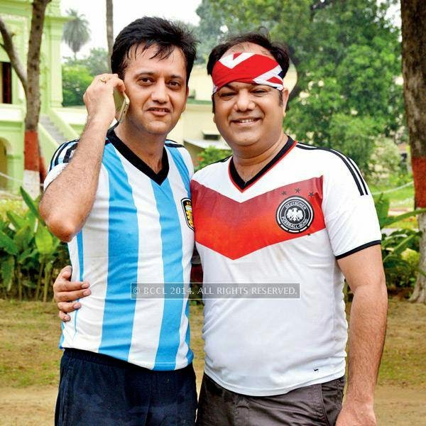 Himanshu and Devesh during a football match between Germany XI and Argentina XI in Lucknow.