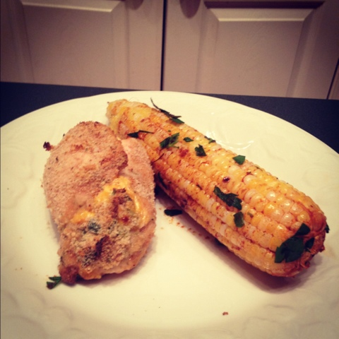 Cheesy Jalapeno Popper Baked Stuffed Chicken with Grilled Corn with ...