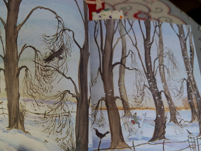 East of the Sun, West of the Moon by Jackie Morris - Girl and bear travel through snowy landscape
