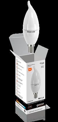 Светодиодные лампы Gauss Elementary свеча на ветру 6W E14 2700K
