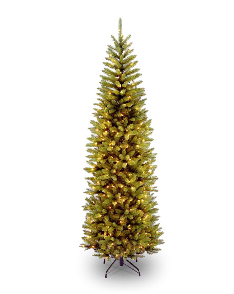 National Tree 7 1/2' Kingswood Fir Pencil Tree, Hinged, 350 Clear Lights (KW7-300-75)